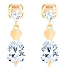 Cercei aur 585 - zirconiu rotund, inimă și picătură transparentă strălucitoare