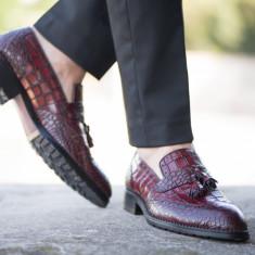 Pantofi Loafer din piele naturala, presaj crocodil. COD: TOP-1.NEW COLLECTION - Pantofi barbat, Marime: 39, 44, Culoare: Din imagine, Eleganti