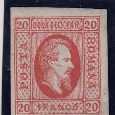 ROMANIA 1865, LP 17, ALEXANDRU IOAN CUZA VALOAREA 20 PARALE ROSU - Timbre Romania, Nestampilat