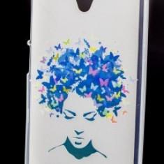 Husa plastic siliconat Design Butterfly Girl ZTE Axon 7 - Husa Telefon