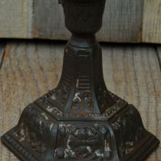 SFEȘNIC TURNAT DIN FONTĂ - FOST SOCLU DE LAMPĂ - MODELE CU FLORI - VECHI 1900! - Metal/Fonta, Sfesnice