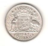 SV * Australia  ONE  FLORIN  1947   ARGINT   Regele George VI     +/- XF