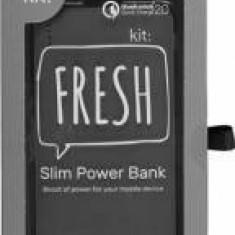 Baterie Externa Universala Kit Fresh 12000 mAh Dual USB Qualcomm Quick Charge 2.0 Gri