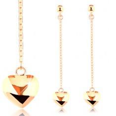 Cercei din aur galben 14K - inimă convexă reversibilă pe lanț - Cercei aur