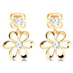 Cercei din aur galben 14K - floare cu petale rotunde, zirconii transparente - Cercei aur