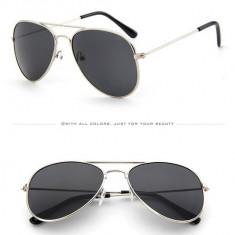 Ochelari de soare tip aviator pentru copii - UV Protectie, Unisex, Negru, Metal, Polarizare, Polarizate
