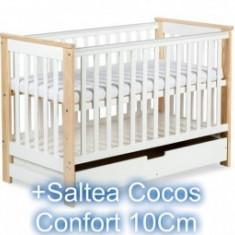 Patut Copii Cu Sertar Klups Iwo Alb Natur+Saltea 10Cm