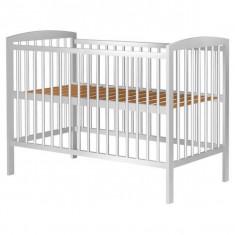 Patut copii din lemn Hubners Anzel 120x60 cm Alb - Patut lemn pentru bebelusi