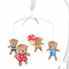 Carusel muzical Mushroom Bear - Carusel patut Baby Mix, Multicolor