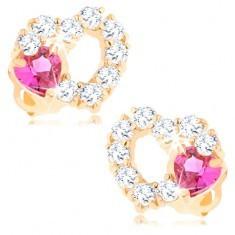 Cercei din aur 14K - contur inimă cu zirconii transparente şi inimă roz - Cercei aur