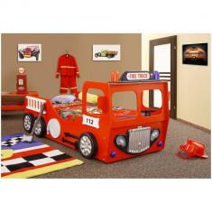 Pat in forma de masina Pompieri - Plastiko - Set mobila copii