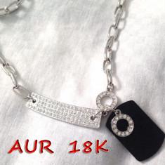 REDUCERE-Lantisor ARMY inox -colier INOX placat cu Aur alb 18k si SWAROVSKI