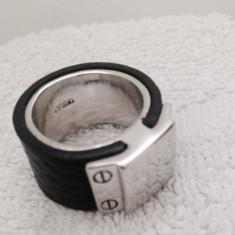 Ghiul barbati-inel INOX unisex placat cu aur 18k si PIELE -marimea 7, 17 mm/55mm - Inel placate cu aur