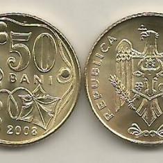 MOLDOVA  50 BANI 2008  UNC - din fisic  [1]   livrare in cartonas, Europa, Fier