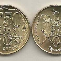 MOLDOVA 50 BANI 2008 UNC [1] livrare in cartonas, Europa, Fier