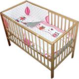 Lenjerie patut Hubners Bufnite 4 piese roz - Lenjerie pat copii