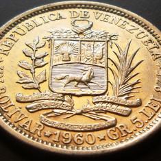 MONEDA ARGINT 1 Bolivar - VENEZUELA, anul 1960 *cjaCOD 23, America Centrala si de Sud
