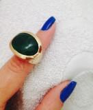 Inel verde placat cu aur 18k si piatra pretioasa-marimea 7, 17mm/ 55mm STANTAT