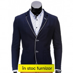 Sacou barbati smart casual M81 bleuamrin, Marime: S, M, L, XL, XXL, Culoare: Din imagine, 2 nasturi, Normal, Poliester