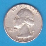 (8) MONEDA DIN ARGINT SUA - QUARTER DOLLAR 1963, FARA LITERA, WASHINGTON, 6.25 g