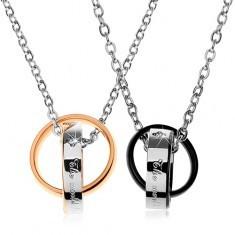 Două coliere din oţel, două inele unite, bicolorate, inscripţii, zirconii - Colier inox