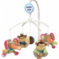 Carusel muzical Elephant and Monkey - Carusel patut Baby Mix, Multicolor