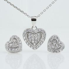 Set din argint Inima Zirconia