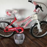 Bicicleta 20 inch pt Fetite 6-9 ani ROSU cu ALB