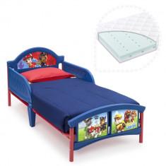 Set pat cu cadru metalic Paw Patrol si saltea pentru patut Dreamily - 140 x 70 x 10 cm - Pat tematic pentru copii, Multicolor