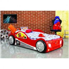 Patut in forma de masina Monza - Plastiko - Rosu - Pat tematic pentru copii
