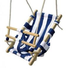 Leagan lemn cu sezut din bumbac - Albastru/Alb - Tobogan copii