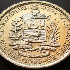 MONEDA ARGINT 1 Bolivar - VENEZUELA, anul 1965 *cjaCOD 26, America Centrala si de Sud