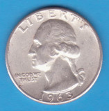 (11) MONEDA DIN ARGINT SUA - QUARTER DOLLAR 1963, FARA LITERA, WASHINGTON,6.25 g