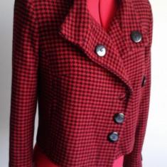 Sacou scurt ( pana in talie ) din stofa de lana imprimeu ecosez - Sacou dama Tinar, Marime: 36, Culoare: Din imagine