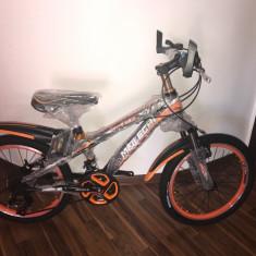 Bicicleta 20 inch cu 18 viteze Shimano 6-9 ani Negru cu Portocaliu - Bicicleta copii, Aluminiu, Cu suspensie