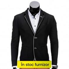 Sacou barbati smart casual M81 negru, Marime: S, M, L, XL, XXL, Culoare: Din imagine, 2 nasturi, Normal, Poliester