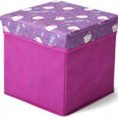 Taburet si cutie depozitare jucarii Hello Kitty - Sistem depozitare jucarii, Roz
