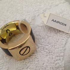 Ghiul barbati INOX - inel unisex placat cu aur 18k si PIELE - marimea 6, 16 mm - Inel barbati