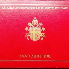 Lot/Set 8 monede UNC VATICAN, anul 2001 = 1000 Lire Argint!!! Cjacod 35, Europa