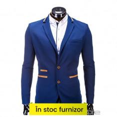 Sacou barbati M10 albastru, Marime: S, M, L, XL, XXL, Culoare: Din imagine, 2 nasturi, Normal, Poliester