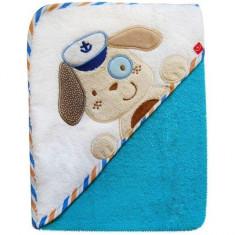 Prosop cu capison 76x76 cm - Bobobaby - Catel Albastru - Prosop baie copii