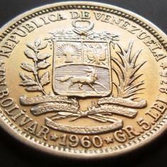 MONEDA ARGINT 1 Bolivar - VENEZUELA, anul 1960 *cjaCOD 22, America Centrala si de Sud