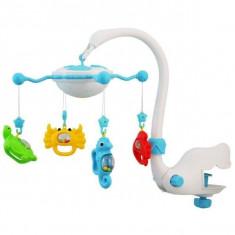 Carusel muzical cu proiectie Aqua Magic - Albastru - Carusel patut Baby Mix, Multicolor, Plastic