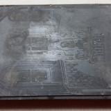 MATRITA VECHE DIN ZINC PENTRU TIPAR - INTERIOR DE BISERICA CATOLICA DIN ARDEAL - Metal/Fonta