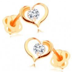 Cercei din aur 585 - contur inimă lucioasă cu zirconiu rotund, transparent - Cercei aur