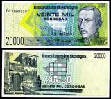 !!! FOARTE  RARR :  NICARAGUA -  20.000 CORDOBAS (1989) - P 160 - UNC