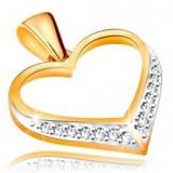 Pandantiv din aur de 14K - contur inimă simetrică, zirconii în partea de jos