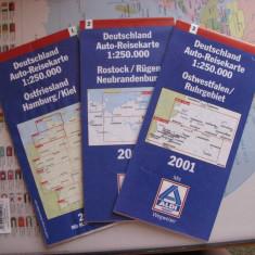 Hartă rutieră Germania, Benelux, Franța - Auto-Reisekarte 2001