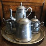 Nr. 440 Set de masa argintat Art Nouveau WMF, ceainic si cafetiera, 5 piese.