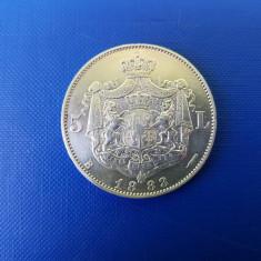 5 LEI 1883-ARGINT -6 STELE-CAROL I REGE - Moneda Romania